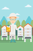 A woman wearing protective suit holding a framework in hand and showing thumb up on the background of apiary vector flat design illustration. Vertical layout.