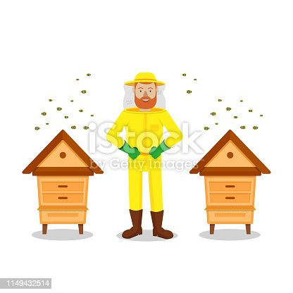 istock Beekeeper Between Two Hive on White Background. 1149432514
