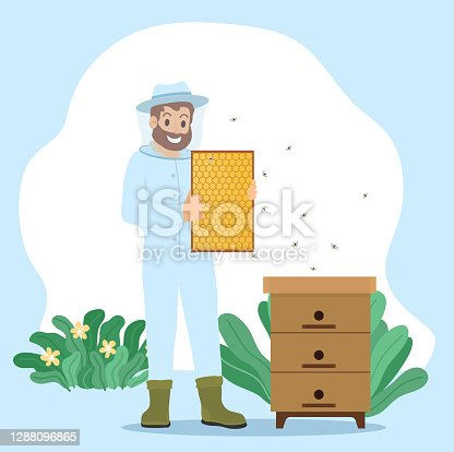 istock Beekeeper Collect Honey, Unload Honeycomb in Frame 1288096865