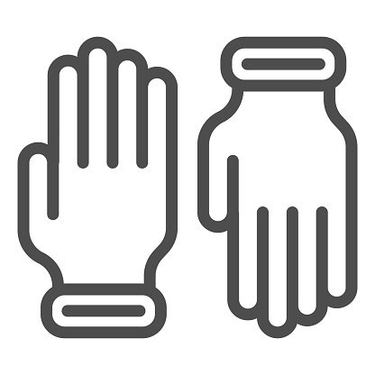 Beekeeper Gloves line icon, beekeeping concept, pair of gloves sign on white background, beekeeper professional clothing icon in outline style for mobile and web design. Vector graphics.