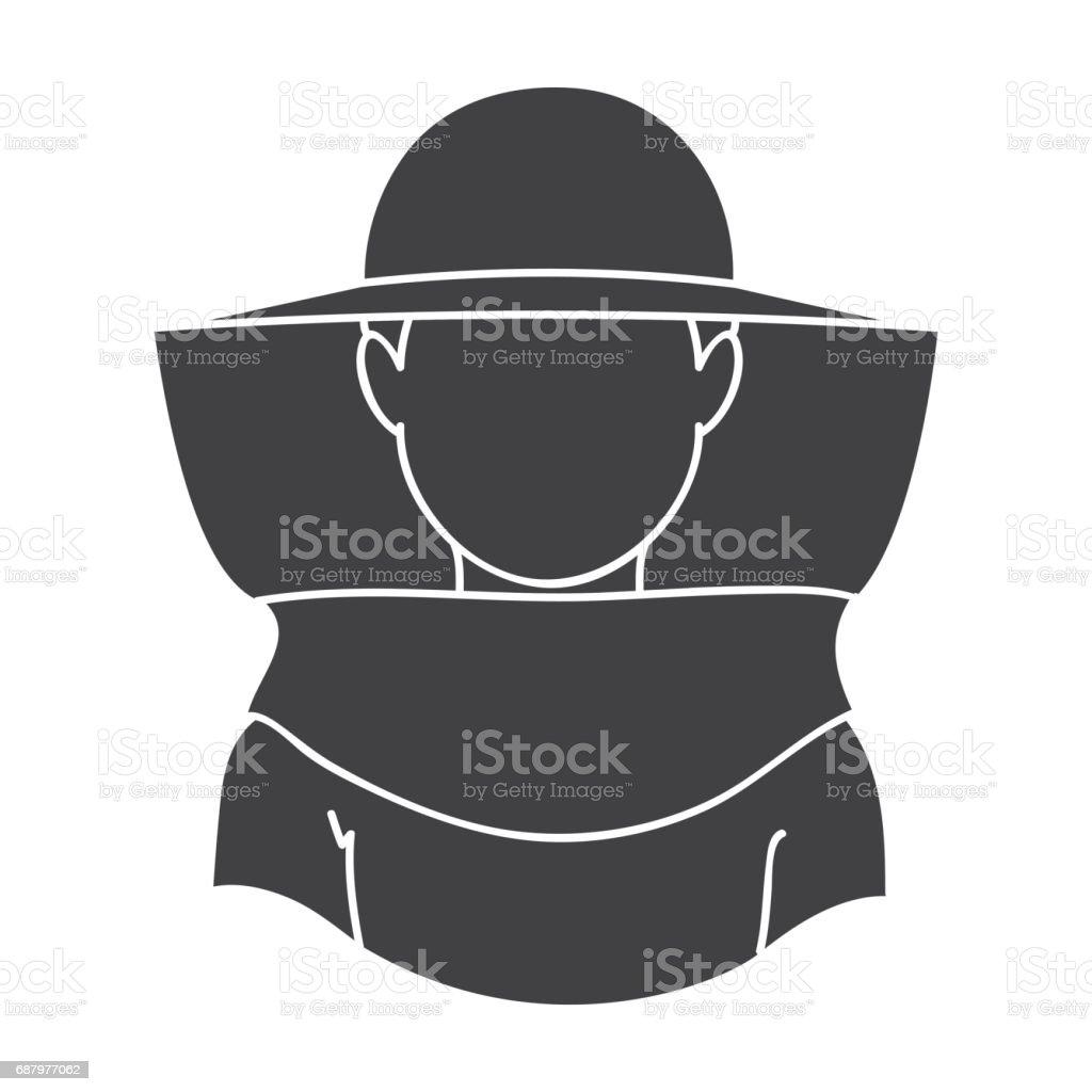 Icône de l'apiculteur dans un style noir isolé sur fond blanc. Illustration de rucher symbole vecteur stock - Illustration vectorielle