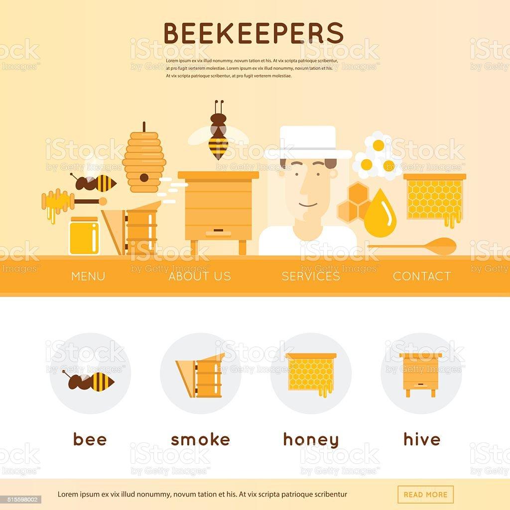 Apiculteur homme avec chapeau et outils pour l'apiculture. - Illustration vectorielle