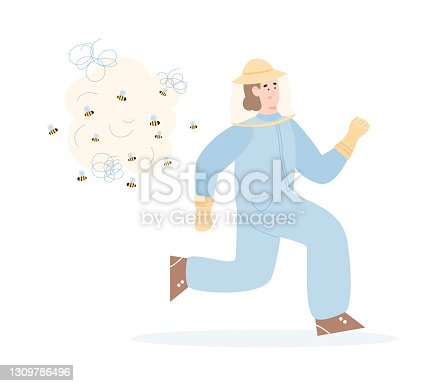 istock Beekeeper or hiver fleeing from the bees flat vector illustration isolated. 1309786496