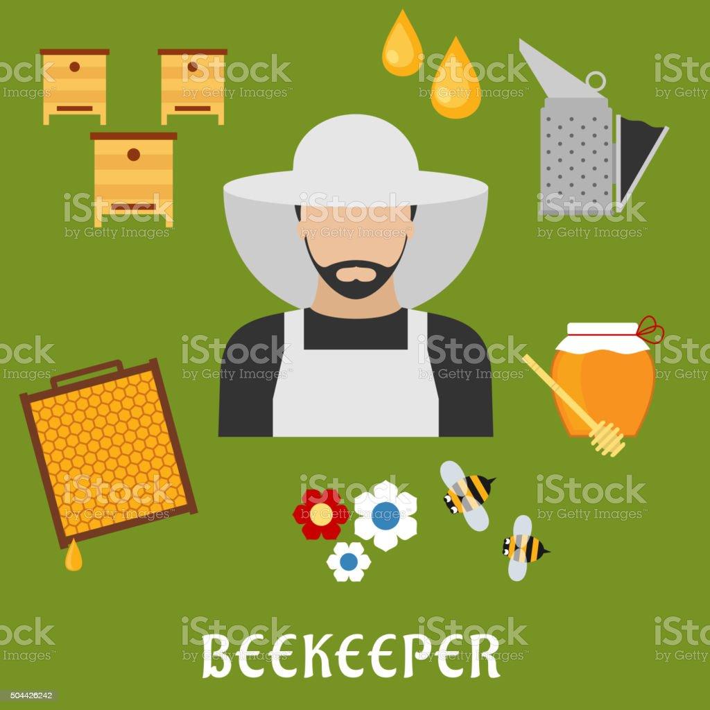 Apiculteur profession et l'apiculture icônes plat - Illustration vectorielle