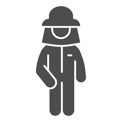Beekeeper solid icon, beekeeping concept, Beekeeper in protection uniform and hat sign on white background, Beekeeper man silhouette icon in glyph style for mobile and web. Vector graphics.