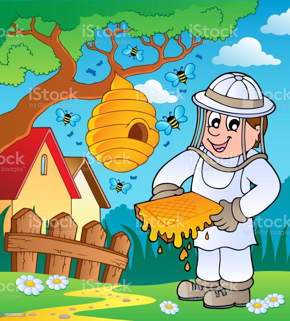 Apiculteur d'hive et bees - Illustration vectorielle