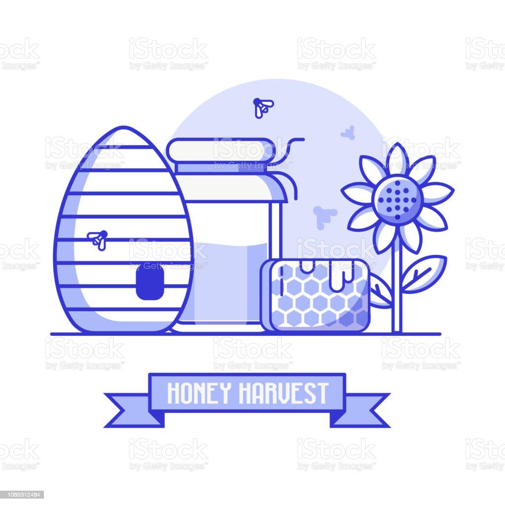 Apiculture et fond de récolte de miel - Illustration vectorielle