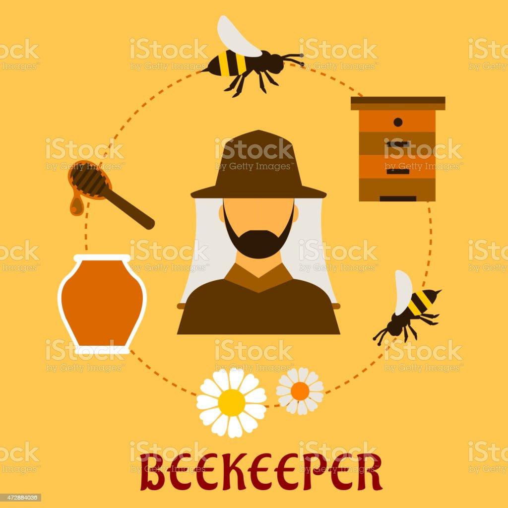 L'apiculture concept de l'apiculture et symboles apiculture - Illustration vectorielle
