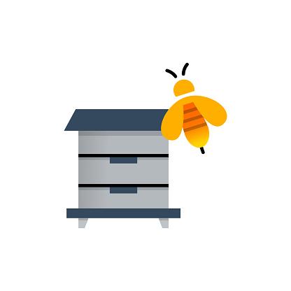 Beekeeping Flat Icon. Flat Design Vector Illustration