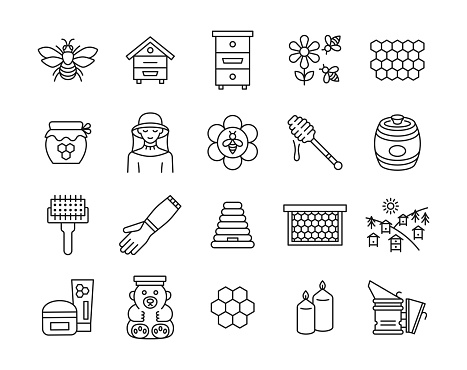 Beekeeping line icon set.