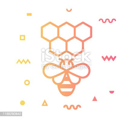 Beekeeping outline style icon design with decorations and gradient color. Line vector icon illustration for modern infographics, mobile designs and web banners.