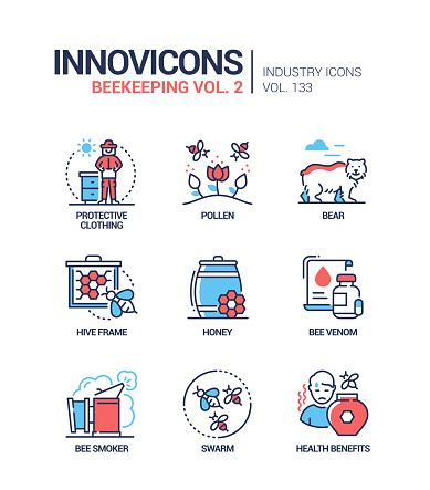 Beekeeping - modern colorful line design style icons