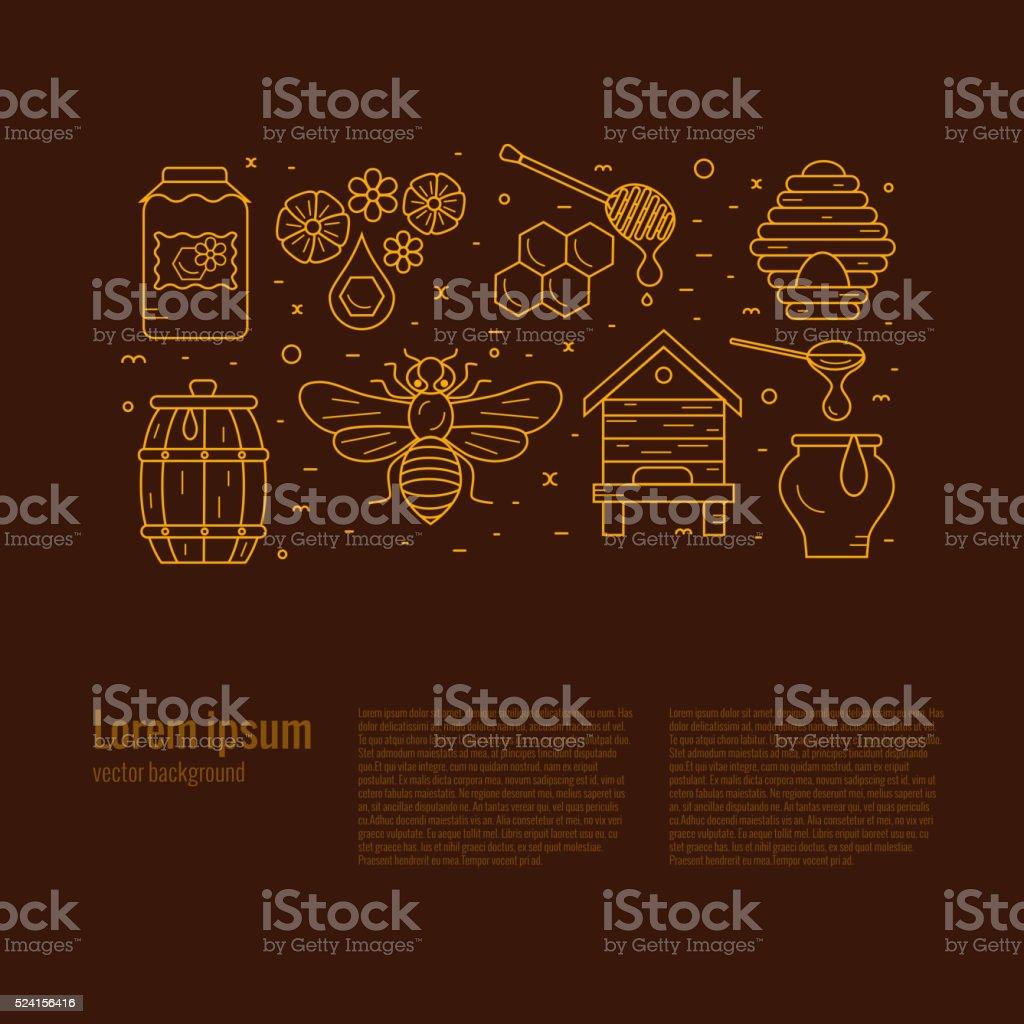 Beekeeping product icon set. vector art illustration