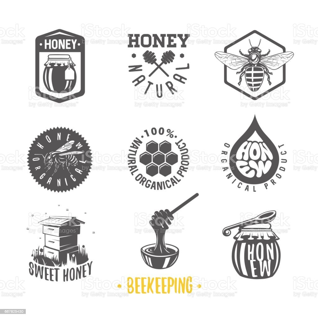 Apiculture. Ensemble d'étiquettes miel vintage, badges, logotypes et éléments de conception. Descripteur de rucher de logo. - Illustration vectorielle