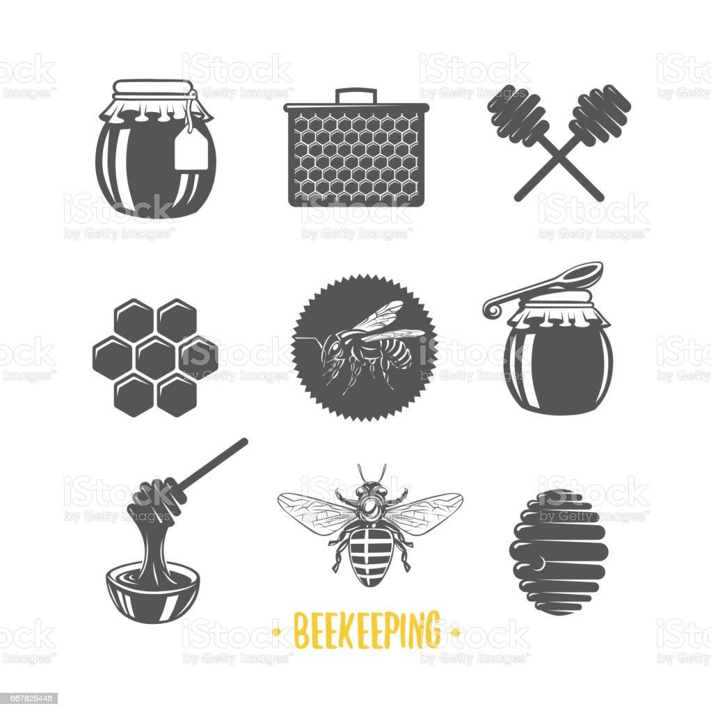 Imkerei Satz Von Vintage Honig Etiketten Abzeichen Logos Und ...