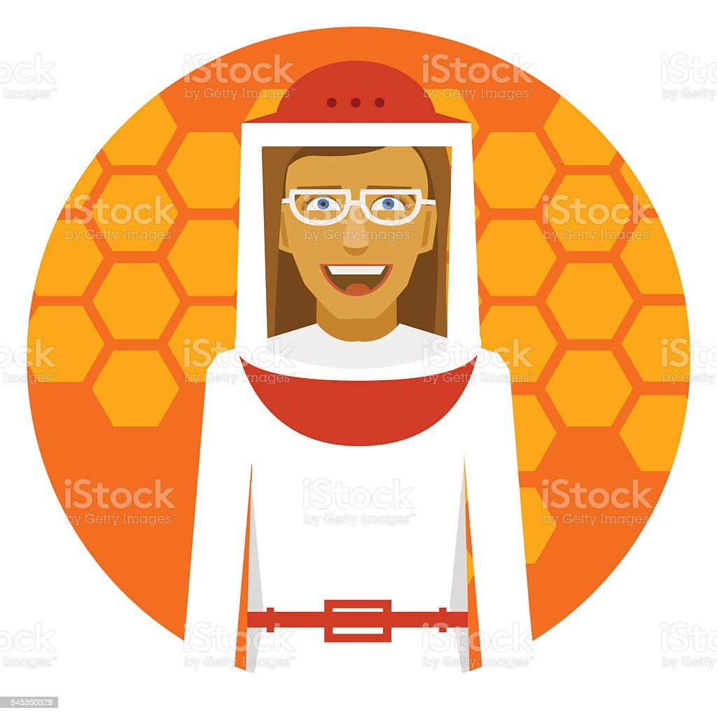 Beekeeping. Smiling beekeeper woman on a honeyed round emblem. - Illustration vectorielle
