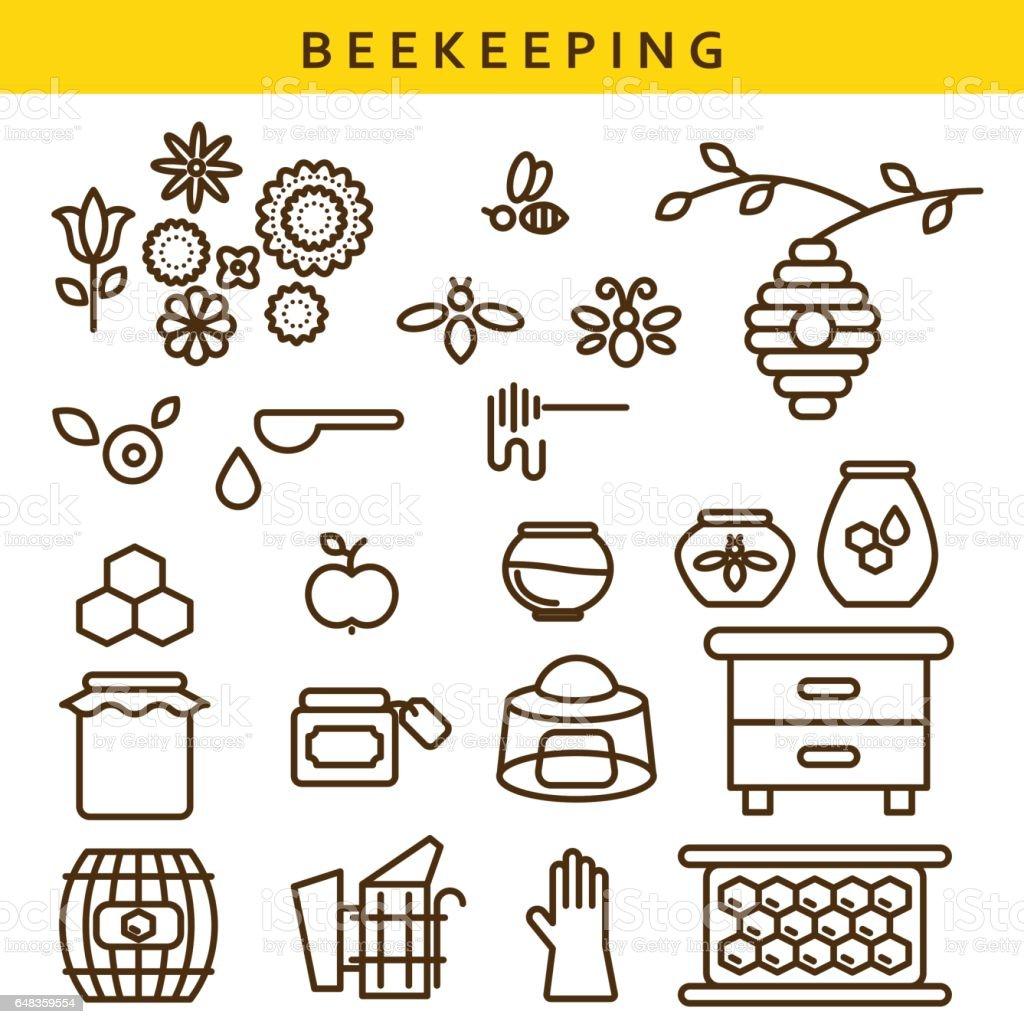 Jeu d'icônes d'apiculture vecteur ligne - Illustration vectorielle
