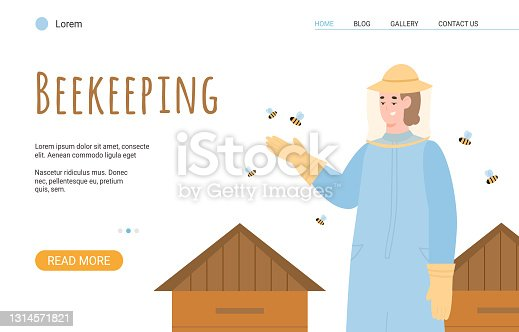 istock Beekeeping website banner with beekeeper or hiver flat vector illustration. 1314571821