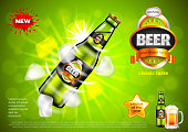 Beer ads. Bottle with ice cubes on green vector background