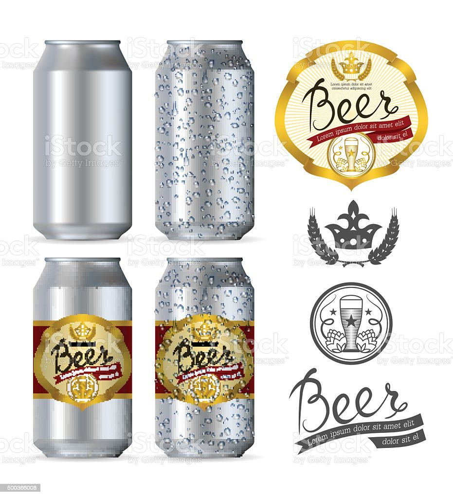 Beer aluminum realistic cans vector art illustration