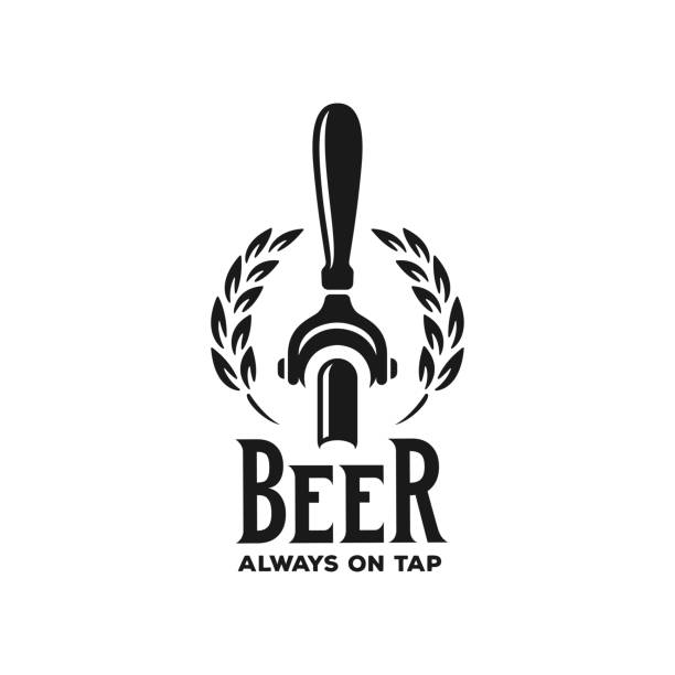 Beer always on tap advertising. Vector vintage illustration. Beer always on tap advertising. Chalkboard design element for beer pub. Vector vintage illustration. handle stock illustrations