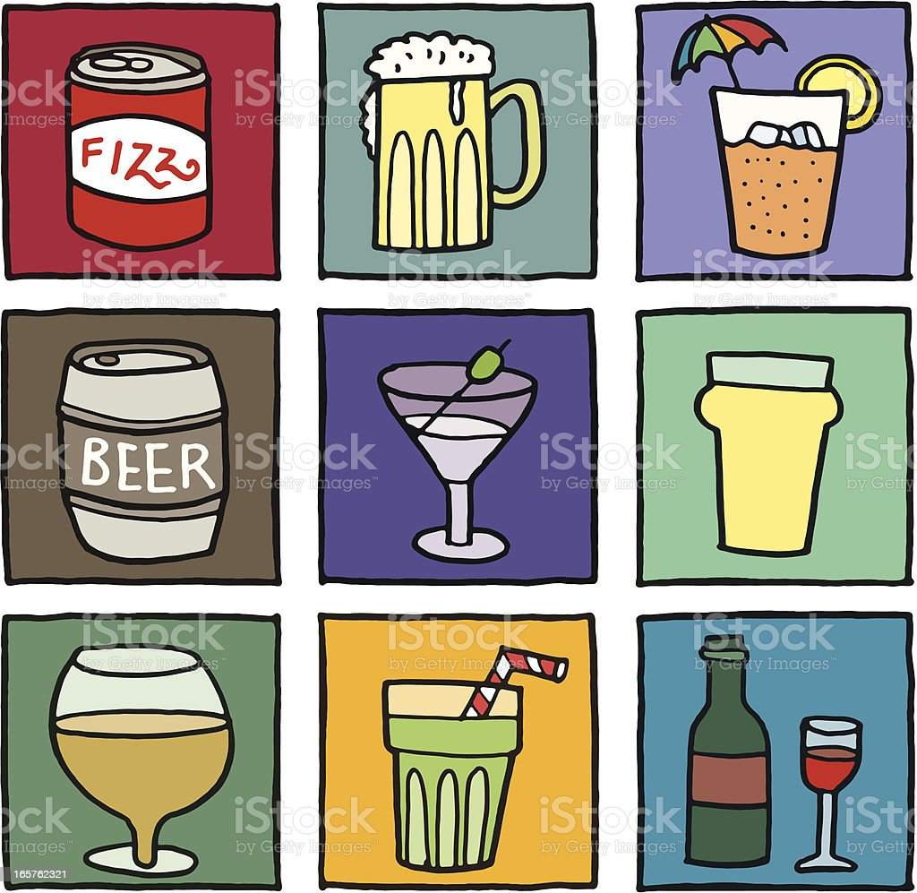 Beer and alcohol blocks royalty-free stock vector art