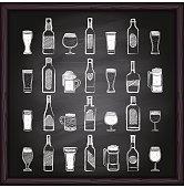 Chalkboard alcohol, beer glasses icon set on blackboard