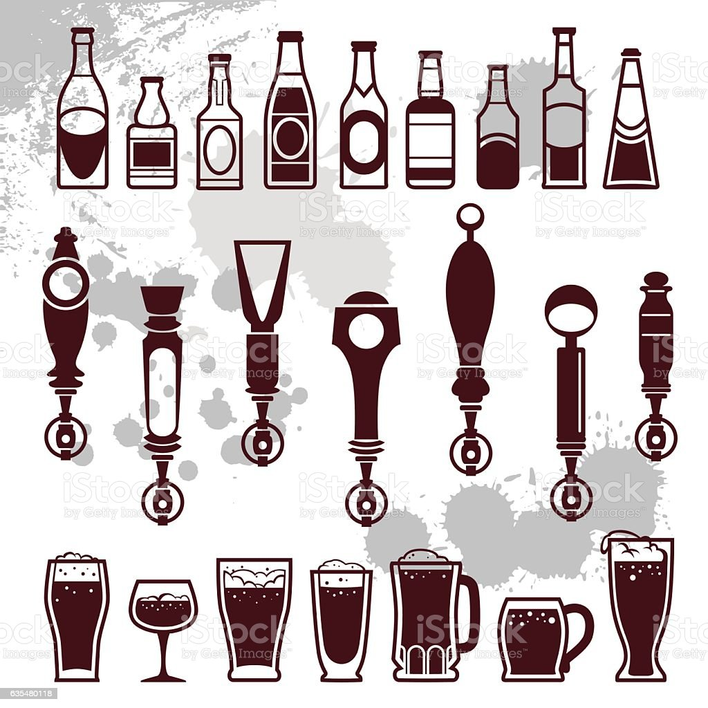 beer and bar icons vector art illustration
