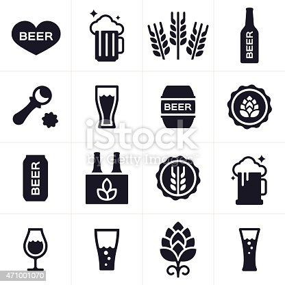 Beer drinking and brewing icon and symbol collection. Sixteen icons and symbols including hops, wheat, bottle, bottle cap, beer stein, beer mug, barrel, bottle opener and six pack. EPS 10 file.