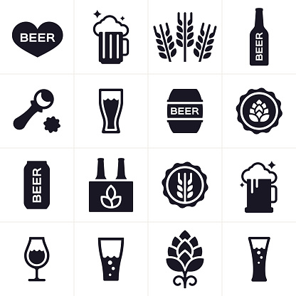 Beer and Beer Brewing Icons and Symbols