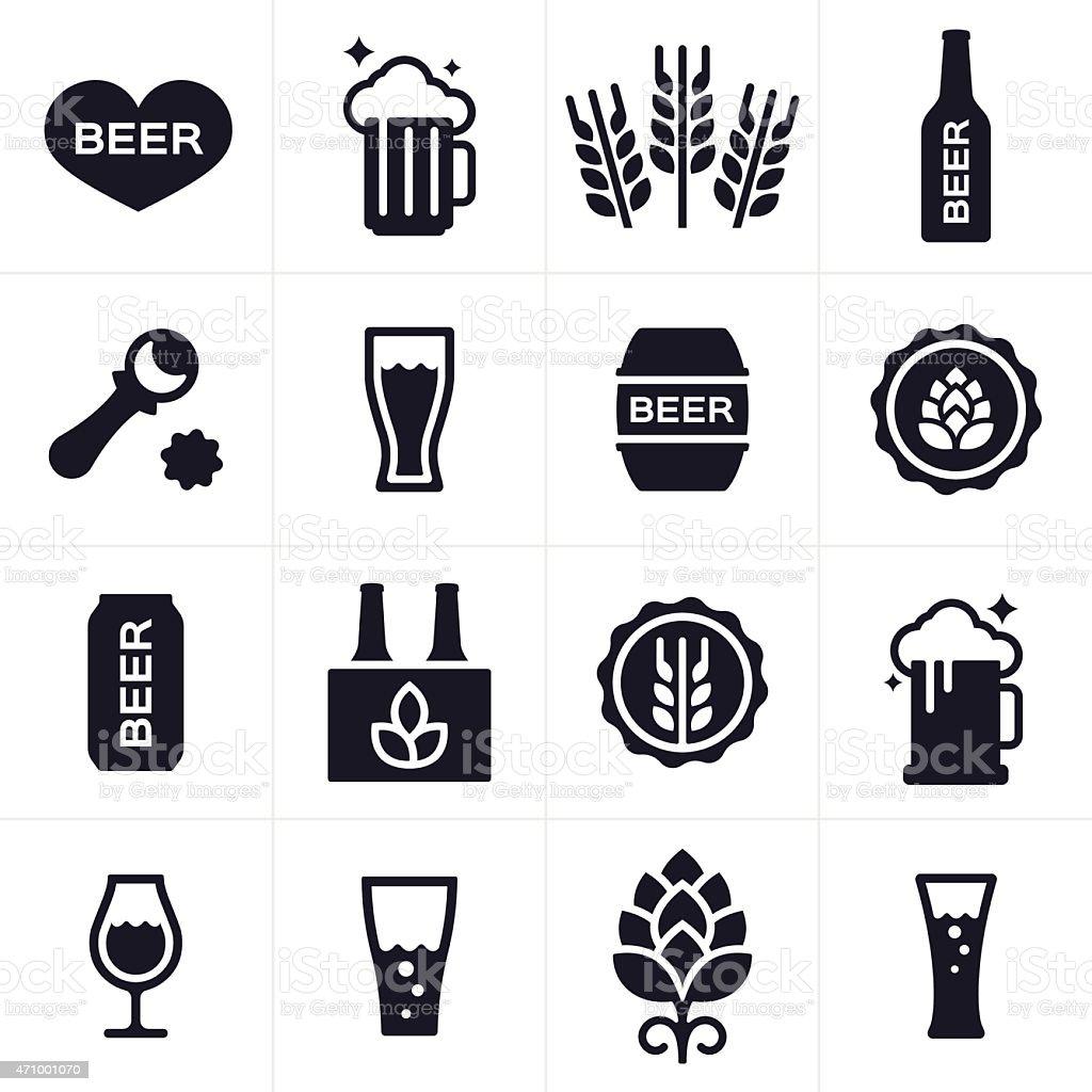Birra e birra Brewing icone e simboli - illustrazione arte vettoriale