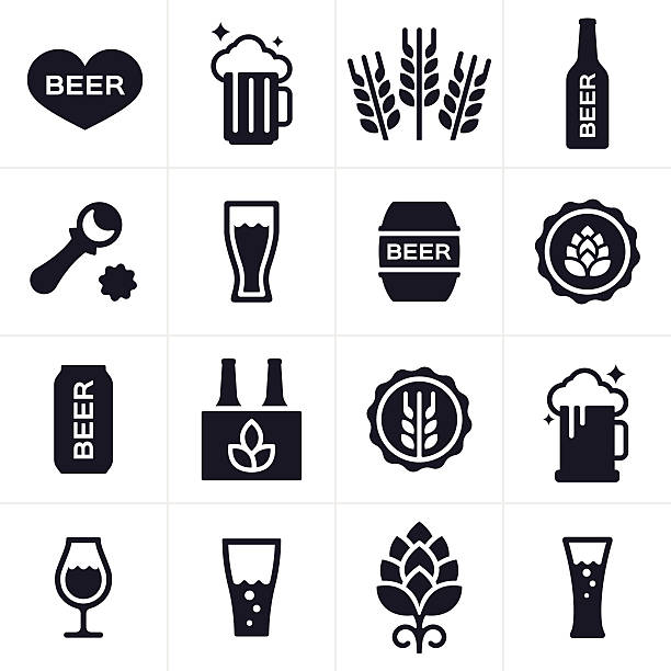 Beer and Beer Brewing Icons and Symbols​​vectorkunst illustratie