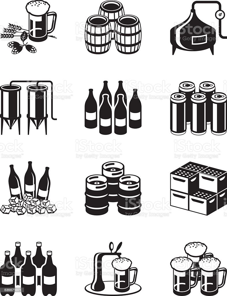 Beer and brewery icon set vector art illustration