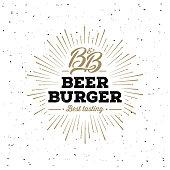 The craft beer and burger emblem with monogram BB. Good for pub emblem. Vector illustration