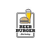 The craft beer and burger. Outline design. Good for pub emblem. Vector illustration