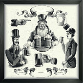 Beer and coffee illustrations in vintage engraved style. Eps 9