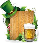 Beer and leprechaun hat