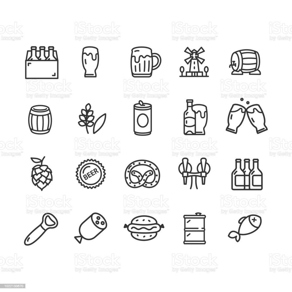 Bira ve Oktoberfest işaretleri siyah ince çizgi Icon Set. Vektör - Royalty-free Ale Vector Art