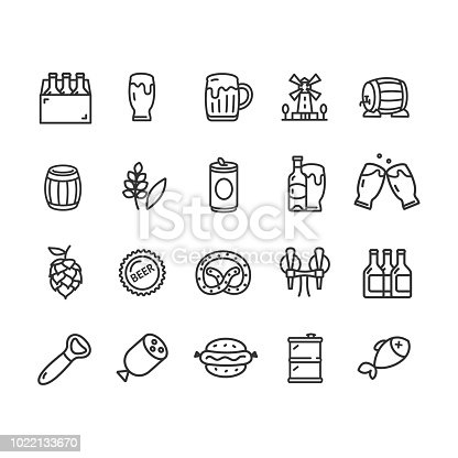 Beer and Oktoberfest Signs Black Thin Line Icon Set Include of Mug and Barrel. Vector illustration of Icons