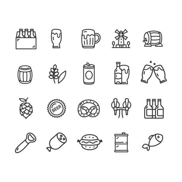 Beer and Oktoberfest Signs Black Thin Line Icon Set. Vector Beer and Oktoberfest Signs Black Thin Line Icon Set Include of Mug and Barrel. Vector illustration of Icons beer stock illustrations