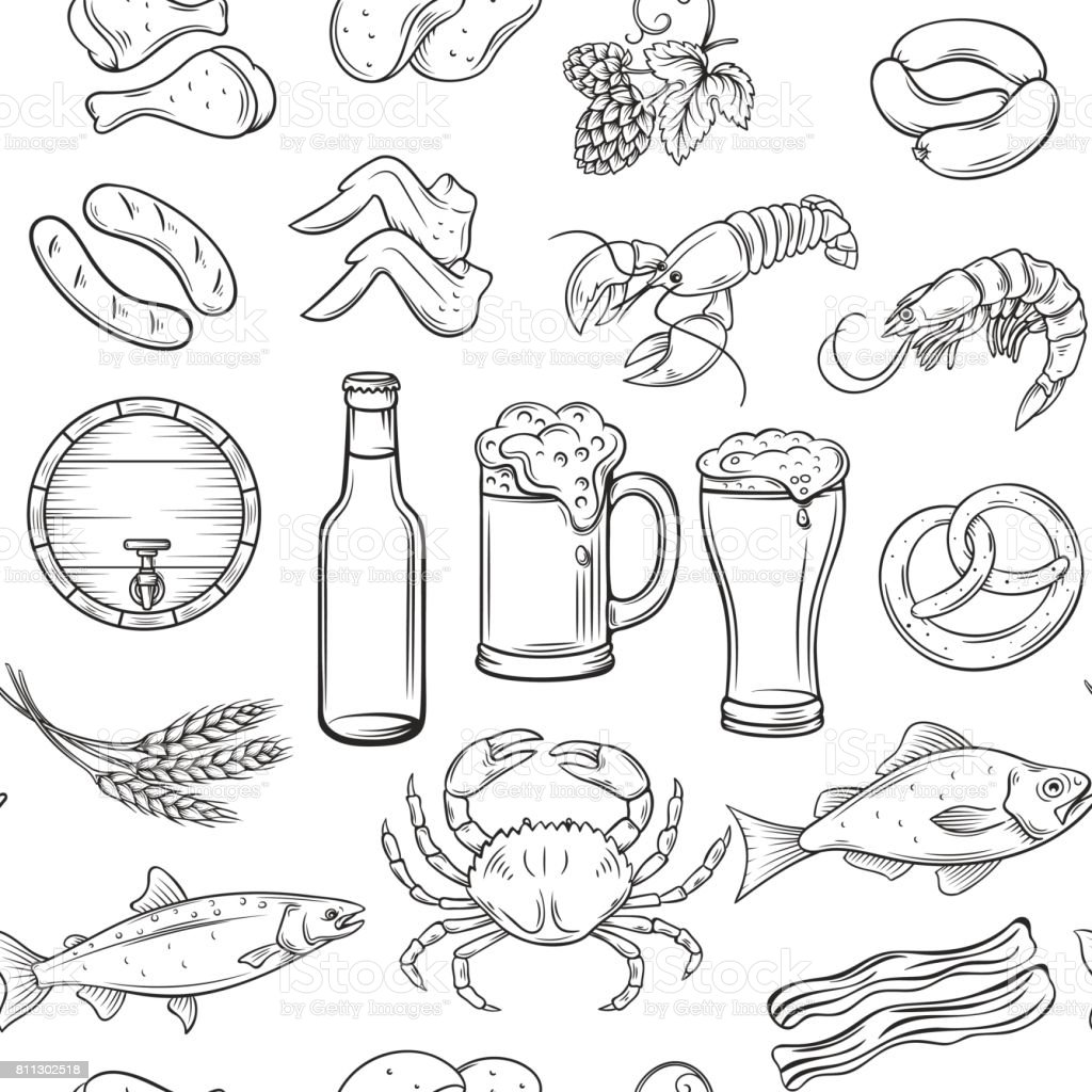 beer and snack seamless vector art illustration