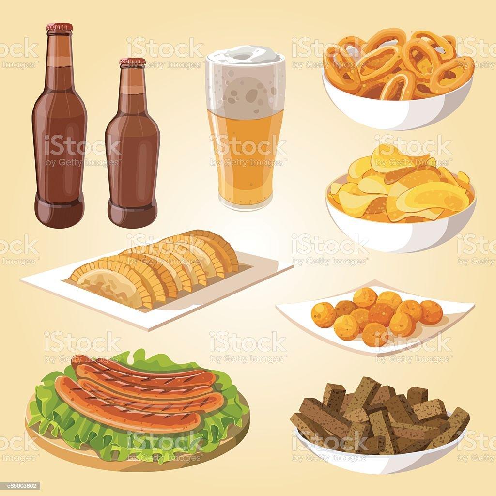 beer and snacks vector art illustration