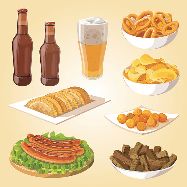 beer and snacks vector art illustration