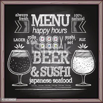 Beer and japanese seafood on blackboard