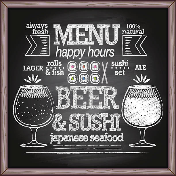 illustrazioni stock, clip art, cartoni animati e icone di tendenza di beer and sushi menu on chalkboard - banchi di pesci