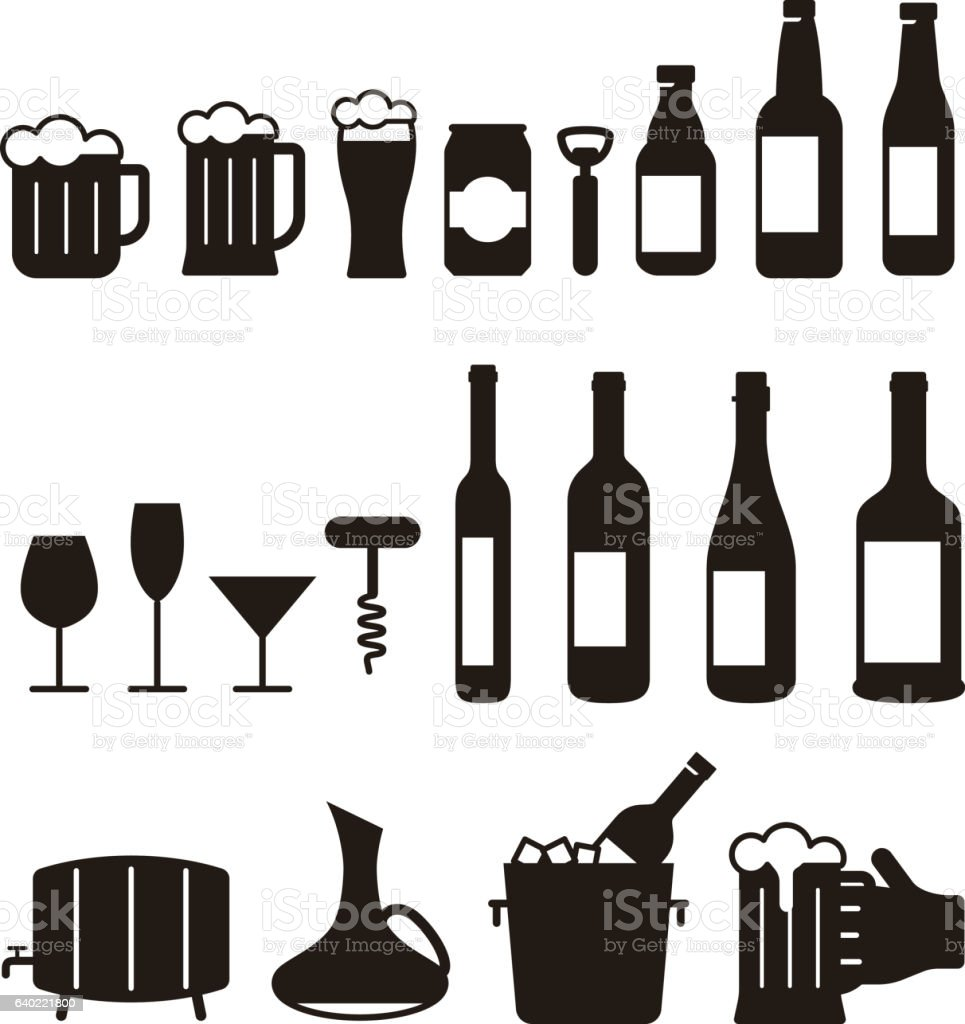 beer and wine drink icon set, vector illustration vector art illustration