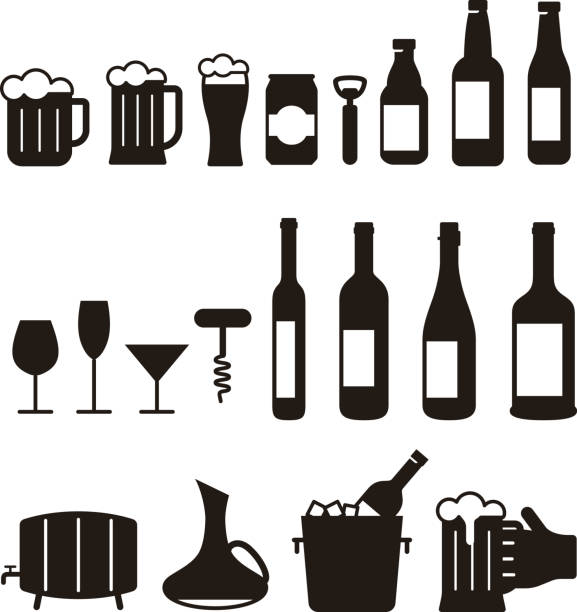 beer and wine drink icon set, vector illustration - butelka wina stock illustrations