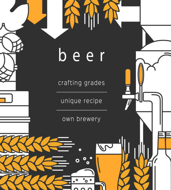 Beer background. Glass, mug, beer tap, bottles and kegs, equipment for brewing, brewery, wheat and hops. Vector backdrop for booklet, brochure, flyer. vector art illustration