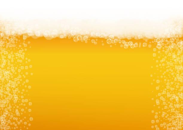 illustrations, cliparts, dessins animés et icônes de fond de bière avec bulles réalistes. - mousse d'emballage