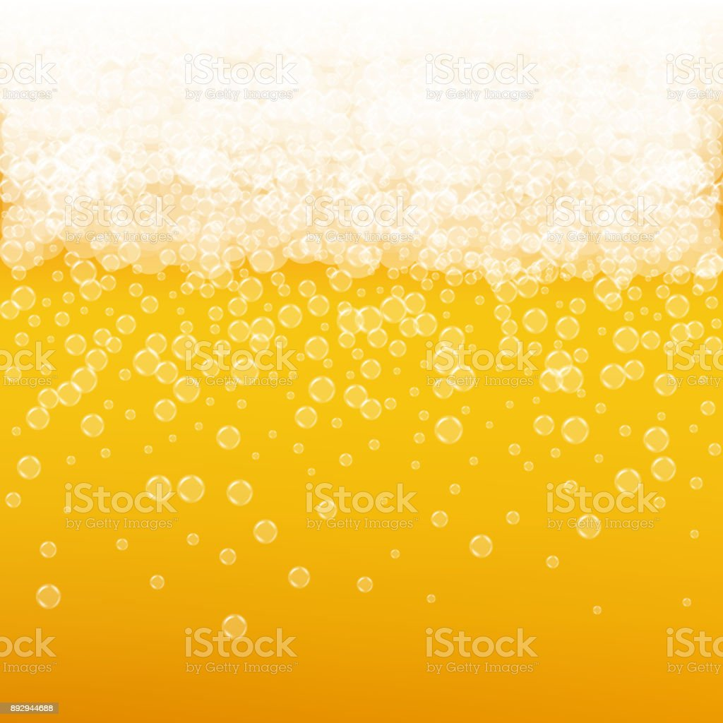 Beer background with realistic bubbles vector art illustration